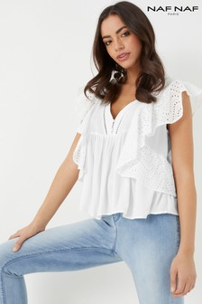 Naf Naf Cut Out V neck Top