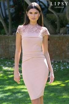 Vestido ajustado de encaje con diseño plisado de Lipsy