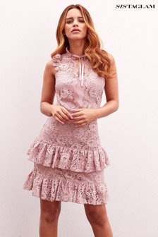 Sistaglam Lace Layered Bodycon Mini Dress