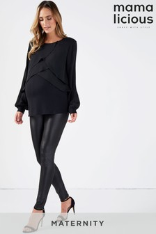 Mamalicious Maternity PU Jersey High Waisted Leggings
