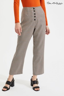 Miss Selfridge Heritage Check Kick Flare Crop Trousers