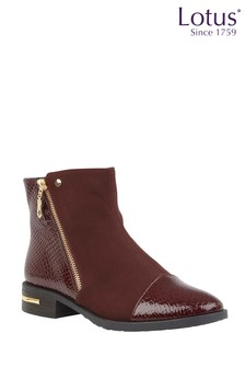 Lotus Ankle Boots With Decorative Trims