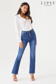Lipsy - Chloe uitlopende jeans met standaardlengte, hoge taille en knopen aan de voorkant