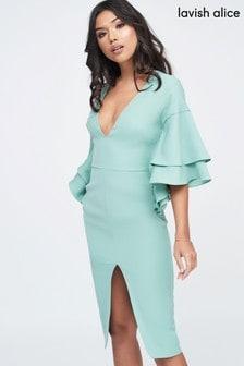 Lavish Alice Double Frill Sleeve Woven Midi Dress