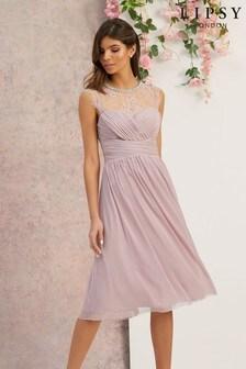 Lipsy Esme蕾絲袖及膝紗裙洋裝