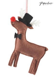 Paperchase Felt Rudoph In Hat Christmas Decoration
