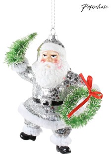 Paperchase Silver Disco Santa Christmas Decoration