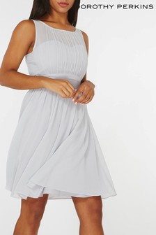 Dorothy Perkins Pleated Chiffon Mini Dress With Satin Bow