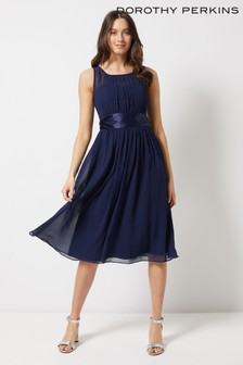 Dorothy Perkins Pleated Chiffon Midi Dress With Satin Bow
