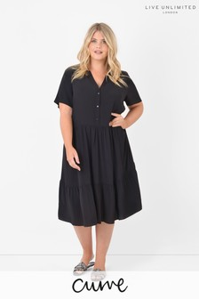Live Unlimited Curve Sustainable Viscose Black Tiered Dress