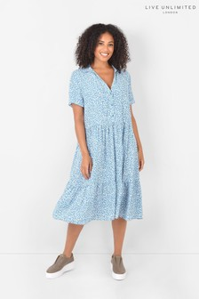 Live Unlimited Curve Sustainable Viscose Blue Ditsy Dress