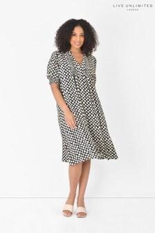 Live Unlimited Curve Black & Cream Ditsy Dress