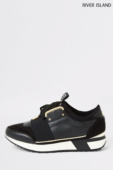 River Island Black Lace Up Runner Trainers