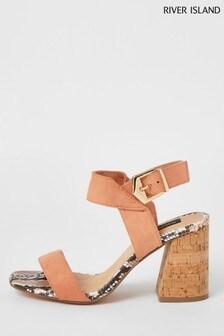 River Island Pink Two Part Cork Heel Sandals