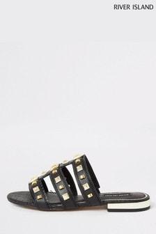 River Island Black Caged Studded Flat Sandals