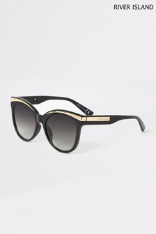 River Island Black Lorna Metal Brow Glam Sunglasses