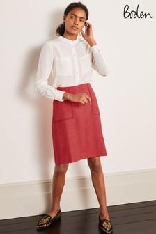חצאית מיני מבד טוויד של Bodenדגם Atkins בצבעכתום