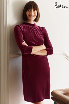 Boden Purple Agnes Velvet Shift Dress