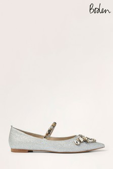 Boden Silver Amy Embellished Flat Shoes