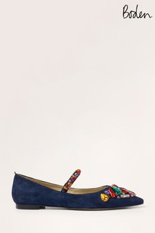Boden Blue Amy Embellished Flat Shoes