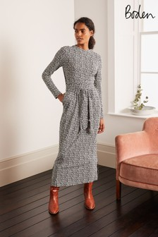 Boden Black Cara Midi Dress