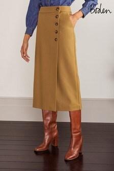 Boden Camel Darcey Midi Skirt