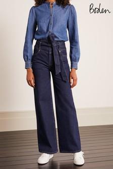 Boden Blue Tie Detail Wide Leg Jeans