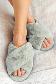 Recycled Faux Fur Slider Slippers