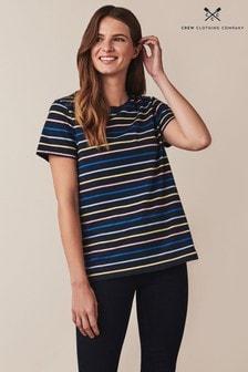חולצת טי פסים שלCrewClothing עם שרוול קצר בכחול