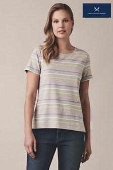 חולצת טי עם פסים צבעוניים שלCrewClothing עם שרוול קצר באפור