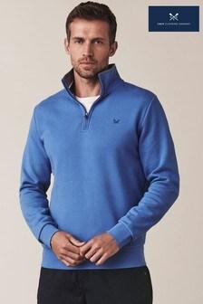 סווטשירט קלאסי עם 1/2רוכסן שלCrewClothing Company בצבע כחול