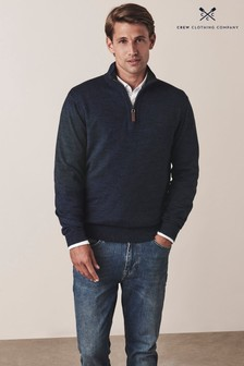 Crew Clothing Company Blue Chesil 1/2 Zip Jumper