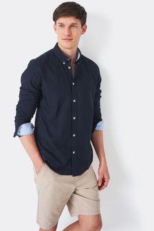 Chemise slim Oxford à col ras du cou Crew Clothing bleue