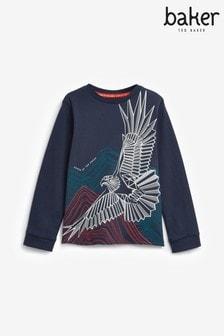 Camiseta azul marino con gráfico de águila deBaker by Ted Baker