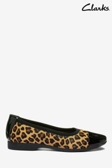 Clarks Leopard Pony Un Darcey Cap Shoes