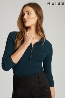 חולצה עם רוכסן בצוואר של Reiss דגם Lexi בטורקיז