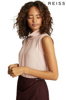Reiss Blush Gilda Sleeveless Roll Neck Top