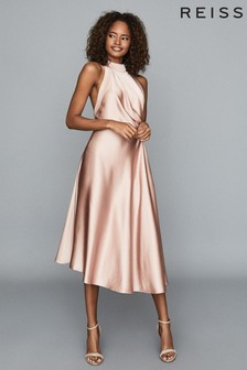 Reiss Pink Rita Halter Neck Satin Midi Dress