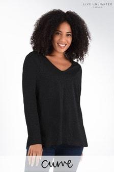 חולצת טי ארוכה משוחררת שלLive Unlimited למידות גדולות בצבע שחור