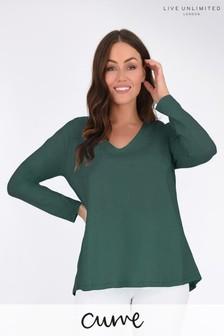 חולצת טי ארוכה משוחררת שלLive Unlimited למידות גדולות בצבע ירוק