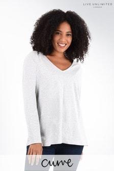חולצת טי ארוכה משוחררת שלLive Unlimited למידות גדולות בצבע לבן
