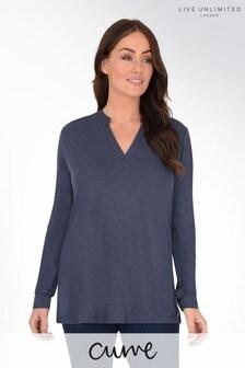 חולצתטי מבד מעובה עם חריץ בצווארון למידות גדולות שלLive Unlimited
