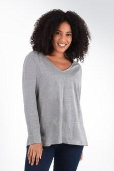 חולצתטי מלאנז'אפורהבגזרהרפויה עם שרוולארוךלמידותגדולותשלLive Unlimited