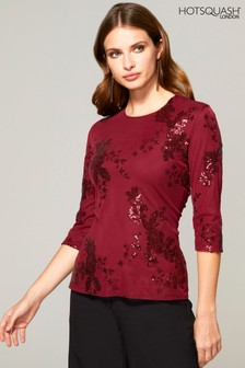 HotSquash Red Sequin Party Top