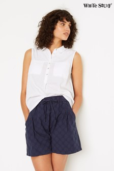 White Stuff Blue Laurie Spot Linen Shorts