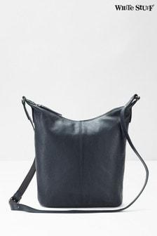 Темно-синяя кожаная сумка с длинным ремешком White Stuff