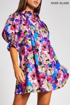 River Island Purple Floral Pleat Shirt Mini Dress