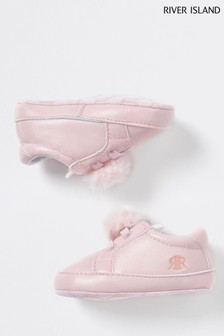 River Island Pink Light Bunny Pom Trainers