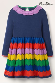Boden Blue Colourful Knitted Dress