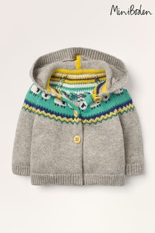 Boden Grey Fairisle Pattern Knitted Jacket